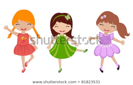 cute dancing girl in red dress stock photo © smeagorl