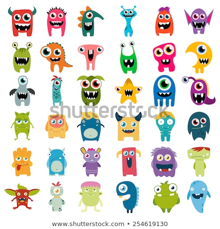Happy Funny Monsters Cartoon Characters With Happy Halloween Text Stock photo © hittoon
