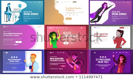 Stockfoto: Recruitment agency landing page template.