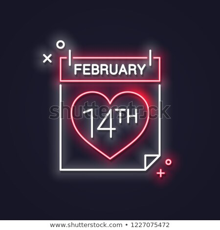Stock fotó: 14 February Calendar In Neon Light Valentine Day Card Vector Re