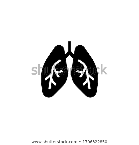 Lungs icon on black and white background Stock photo © Imaagio