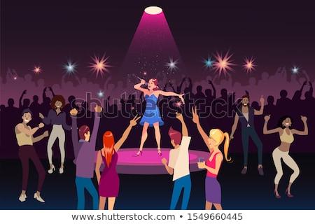 Menina cantando dança meninos boate vetor Foto stock © robuart