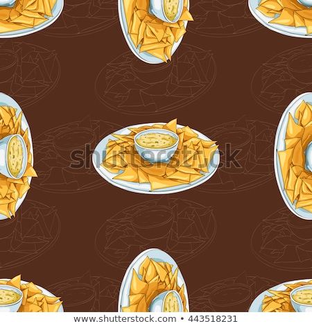 seamless pattern nachos scetch on dark background stock photo © netkov1