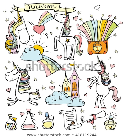Foto stock: Unicorn Set Of Creatures With Drawn Icons Vector
