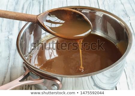 Fakanál karamell mártás serpenyő szelektív fókusz elmosódott Stock fotó © StephanieFrey