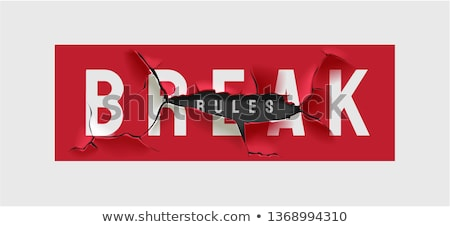 Break the Rules Slogan. Red Broken Sign Illustration. Stock photo © tashatuvango
