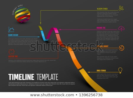 Simple diagonal timeline template with icons - dark version Stock photo © orson