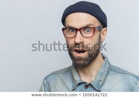 Megrémült férfi kamera száj kinyitott divatos Stock fotó © vkstudio