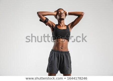 Kép afroamerikai sportoló fej edz izolált Stock fotó © deandrobot