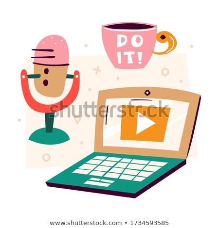 блоггер кофе микрофона аудио технологий Сток-фото © dolgachov