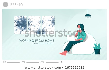 Working from home. Illustration concept for employees who may be at risk of being exposed to coronav Stock photo © ikopylov