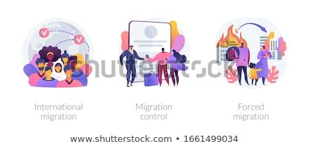 Vándorlás absztrakt vektor illusztrációk metaforák életstílus Stock fotó © RAStudio