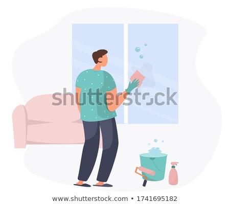 Man emmer vod wassen Windows vector Stockfoto © robuart