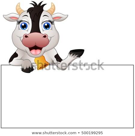 Vache signe cartoon illustration art Photo stock © bennerdesign