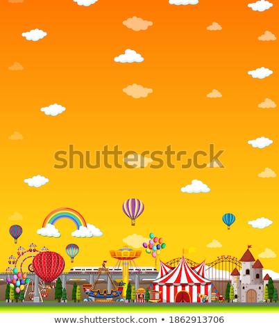 Pretpark scène dag Geel hemel illustratie Stockfoto © bluering