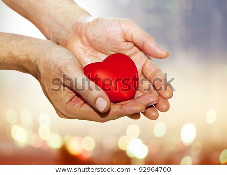 artificial red heart on hands Stock photo © ssuaphoto