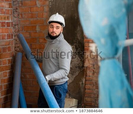 plumber preparing plastic piping stock photo © photography33