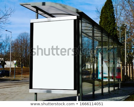 Blue Background with Empty Billboard Trees and Benches Stock photo © WaD