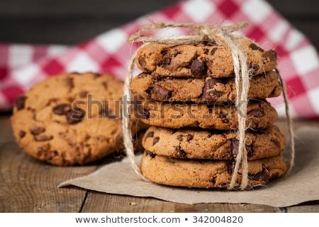 csokoládé · chip · sütik · csésze · fa · asztal · étel - stock fotó © inxti
