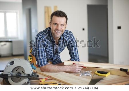sorridere · falegname · faccia · legno · moda · lavoro - foto d'archivio © photography33