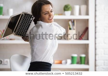 Nők számítógép tűz portré póló személy Stock fotó © photography33
