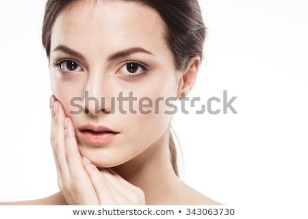 Esmer güzellik dokunmak yanak yüz mutlu Stok fotoğraf © wavebreak_media