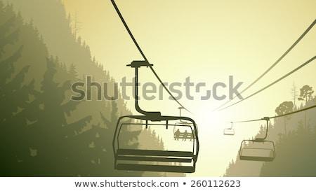 Mountain ski-lift in fog Stock photo © Zhukow