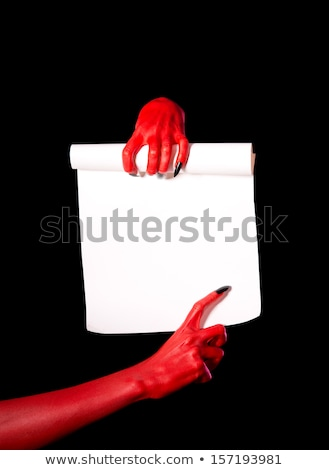 Red Devil Hand With Black Nails Holding Paper Scroll Stock fotó © Elisanth
