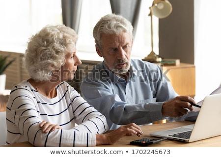 Idős férfi otthoni pénzügyek magasról fotózva kilátás copy space Stock fotó © diego_cervo
