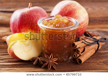 apple jam and fruits on wooden table stock photo © yaruta