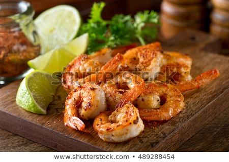 Cocido camarón perejil alimentos comedor comida Foto stock © M-studio