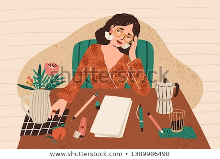 cartoon young woman in sitting and writing stock photo © zebra-finch