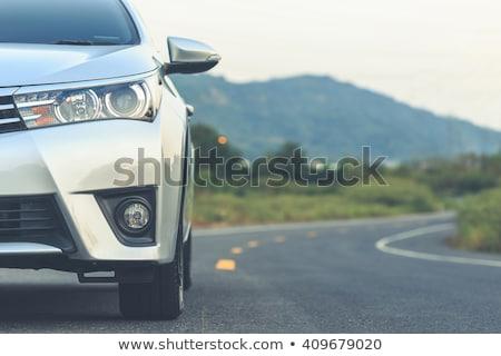 Zilver reizen auto weg zee wolken Stockfoto © papa1266