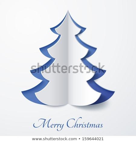 Proste papieru choinka christmas karty star Zdjęcia stock © marimorena