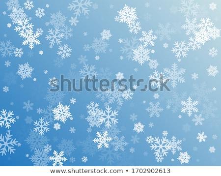 Kék minta hópelyhek végtelenített vektor terv Stock fotó © Ciklamen