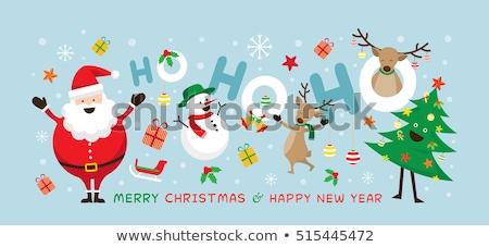 サンタクロース トナカイ 雪だるま クリスマス 背景 笑う ストックフォト © Wetzkaz