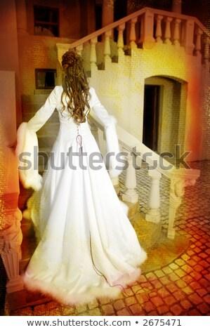 Foto stock: Grunge · noiva · cabelos · longos · belo · feliz · jovem