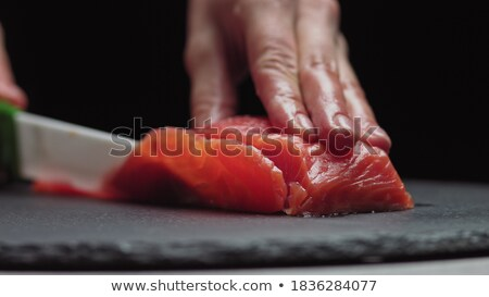 Chef filé vermelho peixe textura Foto stock © OleksandrO