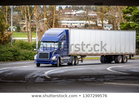 Blue Big Rig Semi Truck Car Hauler Highway Transportation Stock photo © cboswell