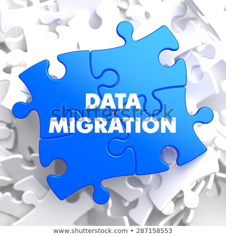 Adat vándorlás kék puzzle fehér technológia Stock fotó © tashatuvango