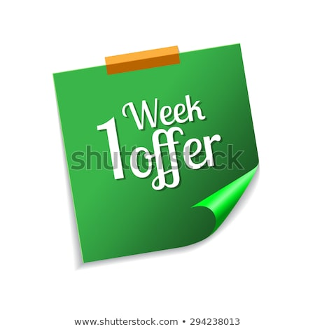 Week bieden groene sticky notes vector icon Stockfoto © rizwanali3d