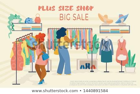 Plus size vásárlás nő lány divat cipők Stock fotó © carodi