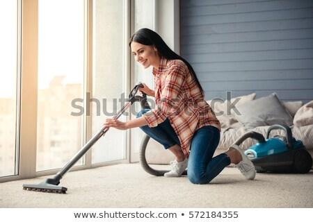 Mulher aspirador de pó ilustração casa trabalho sujeira Foto stock © adrenalina
