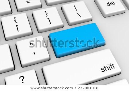 inhoud · Blauw · toetsenbord · knop · mannelijke · vinger - stockfoto © tashatuvango