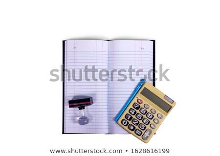 Zielone folderze Kalkulator farbują odizolowany biały Zdjęcia stock © tetkoren