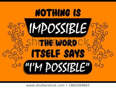 невозможное слово баннер Дать женщину человека Сток-фото © fuzzbones0