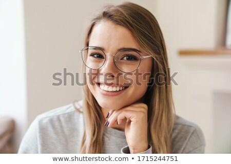 retrato · mulher · óculos · belo · mulher · loira · curto - foto stock © NeonShot