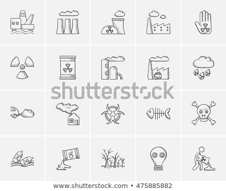 hordó · sugárzás · felirat · rajz · ikon · vektor - stock fotó © rastudio