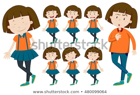 Girl with short hair in different actions Stock photo © bluering