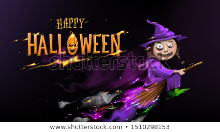 Beautiful Halloween Witch Holding Lantern Illustration Stock photo © NicoletaIonescu
